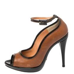 Dolce & Gabbana Brown/Black Patent and Leather Peep Toe Platform Ankle Strap Pumps Size 38