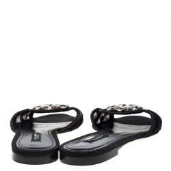 Dolce and Gabbana Black Lace Sofia Crystal Embellished Slides Size 38.5