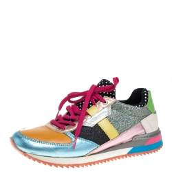 Dolce & Gabbana Multicolor Glitters Leather Low Top Sneakers Size 37.5