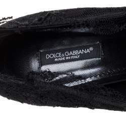 Dolce & Gabbana Black Lace Peep Toe Bow Pumps Size 41