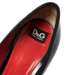 Dolce & Gabbana Black Patent Leather Bow Platform Pumps Size 40