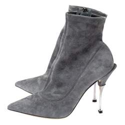 Dolce & Gabbana Grey Suede Pointed Toe Booties Size 39