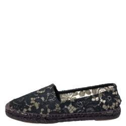 Dolce & Gabbana Blue Floral Lace Espadrille Flats Size 39