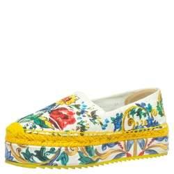 Dolce & Gabbana Multicolor Fabric Majolica Print Platform Espadrilles Size 36