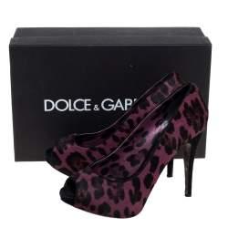 Dolce & Gabbana Purple Calf hair And Suede Leopard Print Peep Toe Pumps Size 40