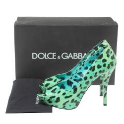 Dolce & Gabbana Green/Black Leopard Print Patent Leather Peep Toe Platform Pumps Size 39