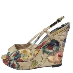 Dolce & Gabbana Multicolor Floral Printed Fabric Platform Wedge Sandals Size 38.5