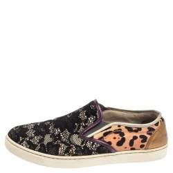 Dolce & Gabbana Multicolor Lace and Leather Slip On Sneakers Size 37