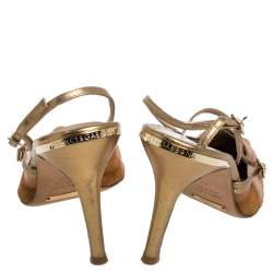Dolce & Gabbana Brown Suede and  Leather Slingback Pointed Toe Sandals Size 38