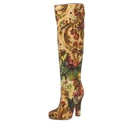 Dolce & Gabbana Multicolor Brocade Fabric Over The Knee Boots Size 36