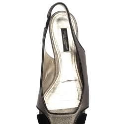 حذاء دولتشى أند غابانا فلات فتحة كعب جلد وسويدى ميتالك مقاس 37.5
