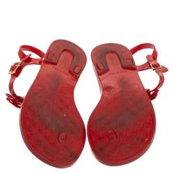 Dolce and Gabbana Red Patent Leather Jelly Bow Thong Flat Sandals Size 38