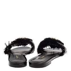 Dolce & Gabbana Black/Grey Raffia Crystal Embellished Flats Size 37