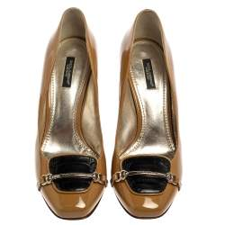 Dolce & Gabbana Black/Beige Patent Leather And Croc Embossed Leather Pumps Size 39.5