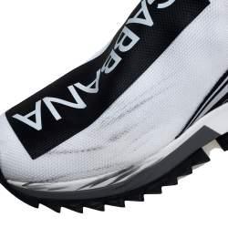 Dolce & Gabbana White/Black Knit Fabric Sorrento Sneakers Size 38.5