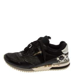 Dolce & Gabbana Black Leather And Glitter Fabric Lace Up Low Top Sneakers Size 39
