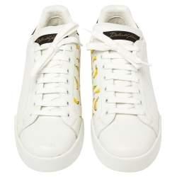 Dolce & Gabbana White Leather Portofino Low Top Sneakers Size 38