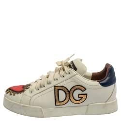 Dolce & Gabbana White Leather Portofino Sacred Heart Sneakers Size 37