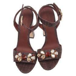 Dolce & Gabbana Beige Jeweled Raffia & Snakeskin Sandals Size 40