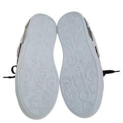 Dolce & Gabbana White/Black Leather Portofino Love Patch Low Top Sneakers Size 38.5
