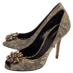 Dolce & Gabbana Grey Floral Print Brocade Fabric Bellucci Crystal Embellished Peep Toe Pumps Size 40