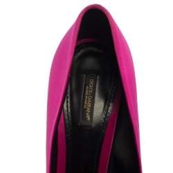 Dolce & Gabbana Pink/Red Satin Rose Flower Peep Toe Pumps Size 39
