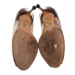 حذاء كعب عالي دولتشي أند غابانا باتشوورك جلد ثعبان متعدد الألوان مقدمة مفتوحة مقاس 39