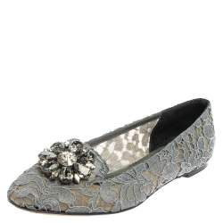 Dolce & Gabbana Grey Lace Crystal Embellished Taormina Ballet Flats Size 39.5
