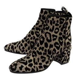 Dolce & Gabbana Multicolor Leopard Print Lurex Fabric Ankle Boots Size 37.5