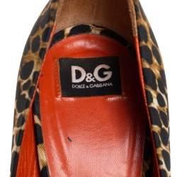 Dolce & Gabbana Two Tone Leopard Printed Fabric Peep Toe Platform Pumps Size 37