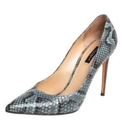 Dolce & Gabbana Blue/Black Python Leather Pointed Toe Pumps Sze 39