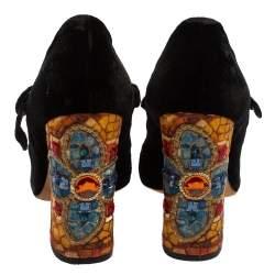 Dolce And Gabbana Black Velvet Crystal Embellished Heel Mary Jane Pumps Size 39