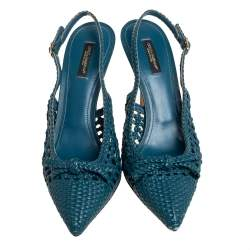 Dolce & Gabbana Blue Woven Leather Bellucci Slingback Sandals Size 39