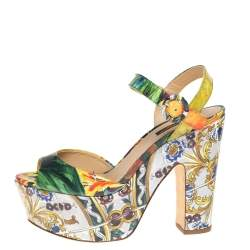 Dolce & Gabbana Multicolor Printed Patent Leather Platform Ankle Strap Sandals Size 38