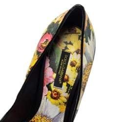 حذاء كعب عالي دولتشي أند غابانا  جلد مورد متعدد الألوان مقاس 38.5