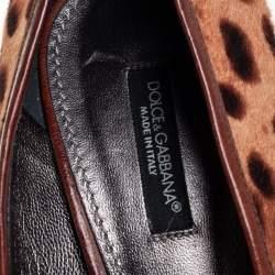 Dolce & Gabbana Brown Leopard Print Calf Hair Round Toe Pumps Size 38