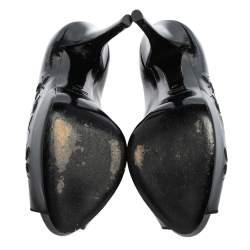 Dolce & Gabbana Black Patent Leather Floral Cut Peep Toe Platform Pumps Size 37