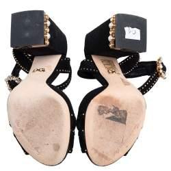 Dolce & Gabbana Black Suede Crystal Embellished Block Heel Sandals Size 36
