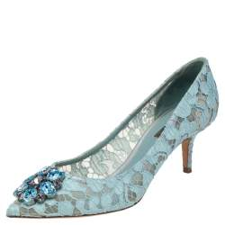 Dolce & Gabbana Blue Lace Bellucci Pointed Toe Pumps Size 38