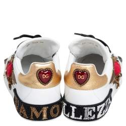Dolce & Gabbana White Leather Portofino Heart Bellezza Low Top Sneakers Size 38