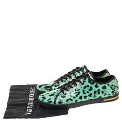Dolce & Gabbana Green Animal Print Patent Leather Low Top Sneakers Size 39