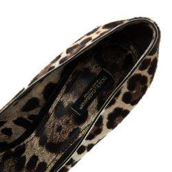 Dolce & Gabbana Beige Leopard Print Pony Hair Bow Peep Toe Pumps Size 40