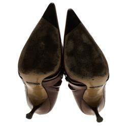 Dolce & Gabbana Brown Leather Buckle Detail Tall Pointed Boots Size 37