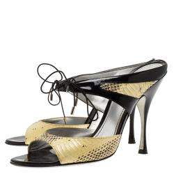 Dolce & Gabbana Beige Snakeskin And  Leather and  Lace Up Sandals Size 40