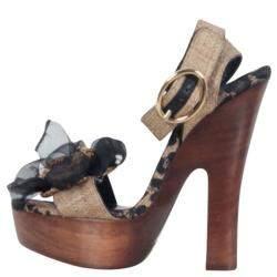 Dolce & Gabbana Leopard Raffia Platform Sandals Size 38