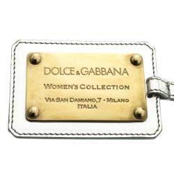 Dolce & Gabbana Silver & Gold Tone Logo Plaque Keyring