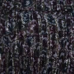Dries Van Noten Floral Print Metallic Silk Chiffon Ruffled Charleston Top S