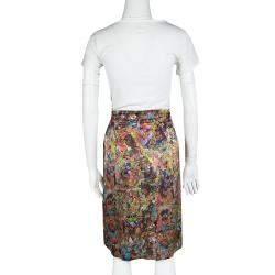 Dries van Noten Multicolor Printed Silk Pleat Detail Skirt M