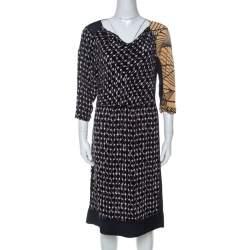 Dries Van Noten Multicolor Abstract Print Silk Sequinned & Beaded Detail Midi Dress M