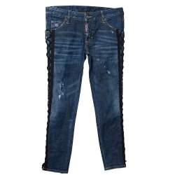 Dsquared2 Navy Blue Denim Tie Detail Deana Jeans S